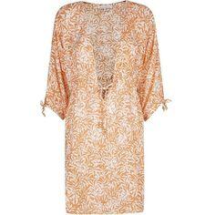 Heidi Klein Istanbul Kaftan ($225) ❤ liked on Polyvore featuring tops, tunics, beach, long-sleeve crop tops, kaftan tunic, rayon tops, rayon tunic and beach tunic