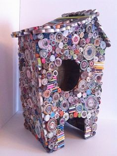 MY PLAY HOUSE - recycled cardboard paper mache and Coiled Paper structure sculpture. $625,00, via Etsy.