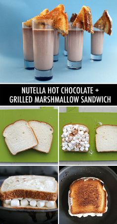 Perfect party or breakfast treat! Nutella hot chocolate + grilled marshmallow sandwiches. Fun take on tomato soup and grilled cheese.