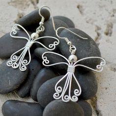 Angel earrings in sterling silver or 14K gold filled.  Wire wrapped earrings. Skirt style B.