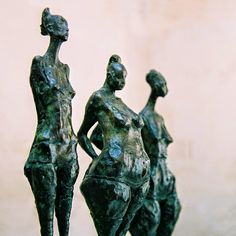 "Valérie Hadida is a contemporary French sculptor and painter, working mainly in Bronze and clay. This set of sculptures is from Les ""petites bonnes femmes""/ The Little Women series, which has been described by critics as a ""poetic encounter… French Sculptor, Paris Ville, Wire Art, Female Bodies, Sculpting, Bronze, Fantasy, Statue, History"