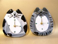 Fused Glass Clock Cats