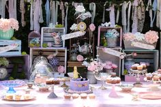 Main party table from Shabby Chic Alice in Wonderland Baby Shower at Kara's Party Ideas. See the whole party at karaspartyideas.com!