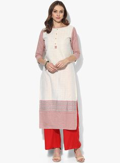 Buy Jaipur Kurti Off White Solid Cotton Blend Kurta Pant Set for Women Online India, Best Prices, Reviews | JA715WA86CTTINDFAS