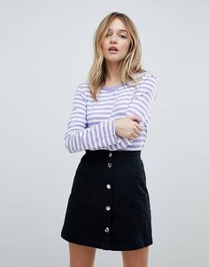 Monki Stripe Long Sleeve Top