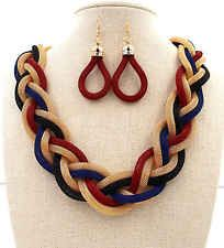 Lady Jewellery Set Statement Twisted Colourful Chunky New Earrings Necklace #750