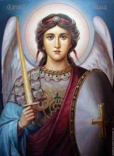 angel michel by Gardian Angel, Angel Warrior, Byzantine Icons, Angels Among Us, Unique Paintings, Archangel Michael, Orthodox Icons, Angels In Heaven, Angel Art