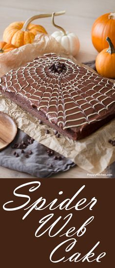 You won't believe how easy it is to make that spiderweb design! | halloween desserts, chocolate cake recipes, spider web designs, holiday desserts