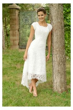 unusual tea length wedding dresses | Tea-length White Bridal Gown in Charming Lace with Asymmetrical Hem ...