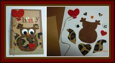 Ugglekortet till mitt barnbarn Henrys 1-års dag. Jag ritade upp Ugglan på papper klippte sen ut delar i tyg och filt och hittade roliga ögon i gömmorna. / My first Owl card