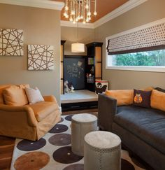 """play nook in family room. Like the raised """"stage"""" with storage underneath"""