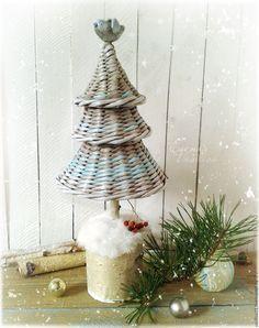"""Купить Елочка """"Новый Год в березовой роще"""" - елочка новогодняя, мятная, плетеная, настольная елочка"""