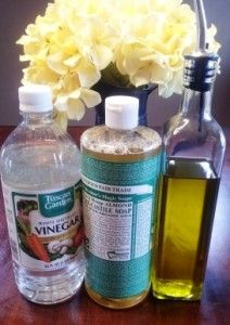furniture polish/floor cleaner Olive Oil- 1 tsp Liquid Castile Soap- 1/2 capful  (around 1 tsp) Vinegar- 1/4 Cup Water Directions: add all the above ingredients to a spray bottle. Fill the remainder of the bottle with water!