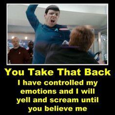 Star Trek Quotes, Star Trek Meme, Vulcan Star Trek, Star Trek Spock, Star Trek Tv Series, Star Trek Movies, Spock Funny, Spock And Kirk, Science Stations