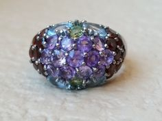 Amethyst Ring Garnet Peridot Blue Topaz Sterling Silver Cluster Statement Gemstone Ring Size 8