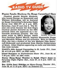 Pianist Natalie Hinderas on Hoagy Carmichael Show - Jet Magazine, July 2, 1953