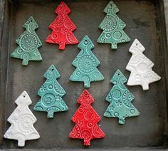 Lots of lace ceramic Christmas Tree ornaments. Winter season is around a corner…