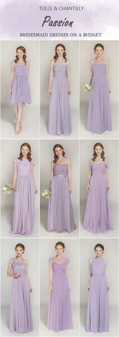 Passion shades of purple bridesmaid dresses