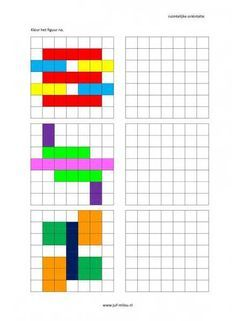 Dit werkblad en nog veel meer in de categorie ruimtelijke orientatie - nakleuren kun je downloaden op de website van Juf Milou. Kindergarten Math Worksheets, Worksheets For Kids, Teaching Math, Math Activities, Handwriting Games, Visual Perceptual Activities, Prewriting Skills, Free Printable Puzzles, Graph Paper Drawings