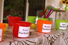 A Bug Filled Fourth Birthday! | CatchMyParty.comPersonalized Bug Buckets