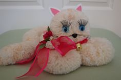 Fluffy Pom Pom Cat by CardinalCouple on Etsy