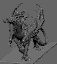 Dragon Art by HanSol Bae - zbrushtuts Mythical Creatures Art, Fantasy Creatures, Blender 3d, 3d Mode, Fantasy Beasts, Superhero Design, Creature Concept, Monster Art, Fantasy Illustration