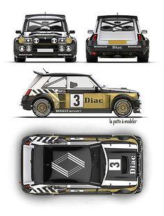 Racing Car Design, Design Cars, Renault 5 Turbo, Camaro 1969, Mini Cooper Classic, Car Illustration, Car Drawings, Rally Car, Car Brands