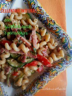 Cellentani integrali con zucchine, speck e pomodorini