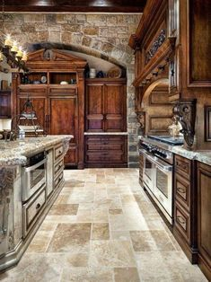 Old World Tuscan Themed Kitchen Style With Arched Brick Wall tuscan style kitchen decor, tuscan style kitchen, tuscan kitchen styles, Kitchen Style Kitchen Design Ideas and Photos Old World Kitchens, Luxury Kitchens, Cool Kitchens, Dream Kitchens, Design Patio, Küchen Design, Design Case, Design Ideas, Layout Design