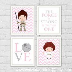 Princess Leia Rey Star Wars Girl Nursery Decor. by waiwaiartprints