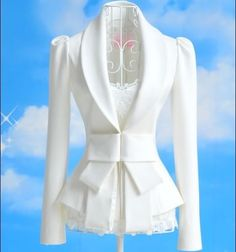 White Lady Shoulder Long Sleeve Bow Suit Jacket