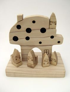 Mushroom House & Gnomes Wooden Toy