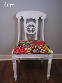 Very cute fabric on cushion, and like the chair white. I would love to do the fabric for our dining room chairs, but do not want to paint the chairs, so would have to match the darker wood.