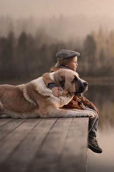 ▷ Beziehung zwischen niedlichen Baby und Haustier