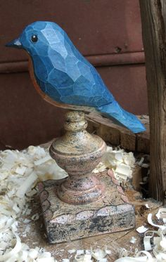 Hand Carved Blue Bird carved from White Pine. by OldeWorldCarvings, $25.00