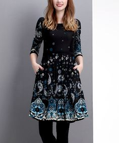 Another great find on #zulily! Black Paisley Fit & Flare Dress #zulilyfinds