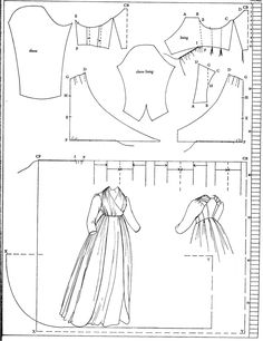 1797 pattern for an open gown in Nora Waugh's The Cut of Women's Clothes 1600-1930  http://marshallhousedress.wordpress.com/