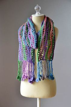 You already know that I'm a huge fan of self-striping yarns so I was thrilled to find this project for you today. I am always on the lookout for fun fringe ideas and this trim is outstanding. It gives the look and feel of flowing fringe without all the tangling of regular fringe. I am reall