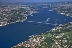 Istanbul by air , the Bosphorus river separating Asia from Europe.