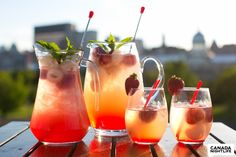 Strawberry lychee sangria - 1/3 ice, 1/3 White wine, 1/3 pineapple juice mixed with ginger ale, 2oz Strawberry-Pineapple Palm Bay, 1.5oz Soho lychee liqueur, 2oz Captain Morgan white rum, and topped with strawberries & lychee.