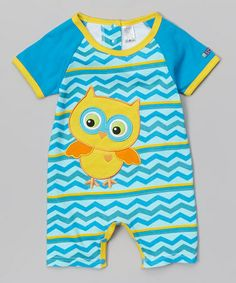 Blue Zigzag Owl Romper - Infant                              #zulily