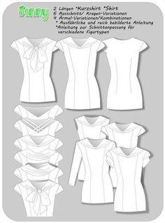 """Blusenshirt """"Jenny"""" für Jersey und Webware Nähanleitung und Schnittmuster - Schnittmuster und Nähanleitungen bei Makerist"""