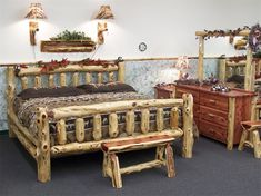 Log Furniture | Rustic Cedar Log Cabin King Bed - Amish Furniture 41154