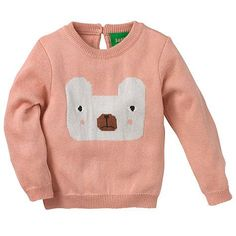 Buy Donna Wilson for John Lewis Baby Intarsia Knit Bear Jumper, Pink Online at http://johnlewis.com