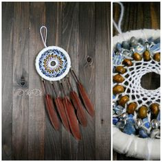 """Diameter 11 cm (4.3 inch), length 23 cm (9 inch)    Materials: sodalite, glass, moonstone, strands of cotton, feathers, wood beads    Dreamcatcher, dream catcher (angl. inanimate form word """"spider"""", or """"trap dreams"""") — Indian talisman that protects the sleeper from evil spirits. Bad dreams become entangled in a cobweb, and good slip through the hole in the middle.    You can hang the dream catcher in the nursery, bedroom, living room and even on the veranda.    Let me know if you want the…"""