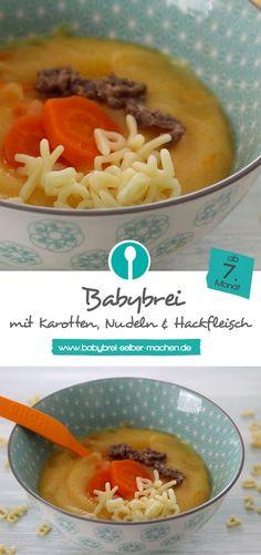 Babybrei mit Nudeln, Karotten und Hackfleisch: Ein tolle Alternative zu einem normalen Mittagsbrei mit Kartoffeln. Für Babys ab dem 7. Monat.