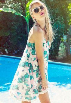 Estebana Tropical Cross Back Pom Pom Swing Dress - Mini Dresses - Missguided