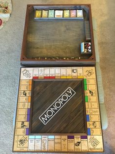 Justin Lebon proposed to his girlfriend by DIY custom made Monopoly board Wooden Board Games, Wood Games, Diy Board Game, Monopoly Board, Monopoly Game, Custom Monopoly, Trotec Laser, Harry Potter Monopoly, Family Game Night