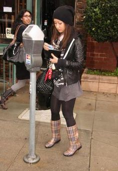 Love the rain boots with the leather jacket