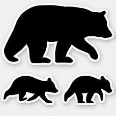 Black Bear with Cubs Silhouettes Vinyl Sticker Set day hiking essentials, hiking pack, hiking virginia Bear Stencil, Baby Cubs, Hiking In Virginia, Animal Silhouette, Silhouette Cameo, Hiking With Kids, Love Bear, Cute Bears, Black Bear